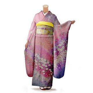振袖 フルセット 古典 Mサイズ ピンク・オレンジ系 (中古 リユース 美品) 40216