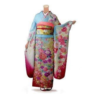 振袖 フルセット 花柄 Mサイズ 青・紺系 (中古 リユース 美品) 26664