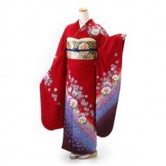 振袖 フルセット 花柄 Mサイズ 赤・ワイン系 (中古 リユース 美品) 16639
