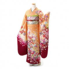 振袖 フルセット 古典 Lサイズ ピンク・オレンジ系 (中古 リユース 美品) 40664