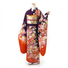振袖 フルセット 古典 Mサイズ 紫系 (中古 リユース 美品) 50835