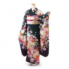 振袖 フルセット 花柄 Lサイズ グリーン系 (中古 リユース 美品) 96696