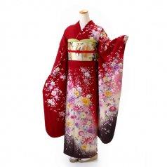 振袖 フルセット 花柄 Lサイズ 赤・ワイン系 (中古 リユース 美品) 16208
