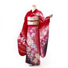 振袖 フルセット 花柄 Lサイズ 赤・ワイン系 (中古 リユース 美品) 16329