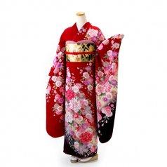 振袖 フルセット 花柄 Lサイズ 赤・ワイン系 (中古 リユース 美品) 16414