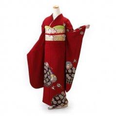 振袖 フルセット 古典 Mサイズ 赤・ワイン系 (中古 リユース 美品) 10191