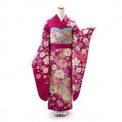 振袖 フルセット 花柄 Lサイズ ピンク・オレンジ系 (中古 リユース 美品) 46934