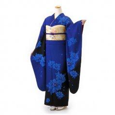 振袖 フルセット モダン Mサイズ 青・紺系 (中古 リユース 美品) 25054