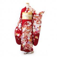 振袖 フルセット 毬 Mサイズ 赤・ワイン系 (中古 リユース 美品) 14023