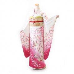 振袖 フルセット 花柄 Mサイズ 白・グレー系 (中古 リユース 美品) 86521