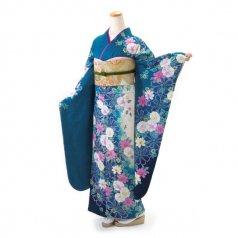 振袖 フルセット 花柄 Lサイズ グリーン系 (中古 リユース 美品) 96544