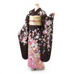 振袖 フルセット 花柄 Lサイズ 茶系 (中古 リユース 美品) 76332