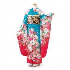 振袖 フルセット 花柄 LLサイズ グリーン系 (中古 リユース 美品) 96901