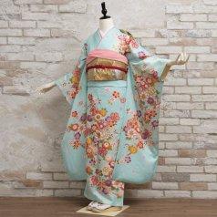 振袖 フルセット 花柄 Mサイズ 青・紺系 (中古 リユース 美品) 26660