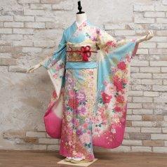 振袖 フルセット 花柄 LLサイズ 青・紺系 (中古 リユース 美品) 26664