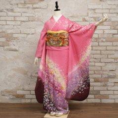 振袖 フルセット 花柄 Lサイズ ピンク・オレンジ系 (中古 リユース 美品) 46540