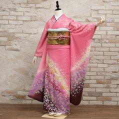 振袖 フルセット 花柄 Mサイズ ピンク・オレンジ系 (中古 リユース 美品) 46540
