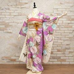 振袖 フルセット 花柄 Mサイズ 白・グレー系 (中古 リユース 美品) 86495