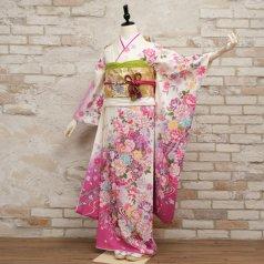 振袖 フルセット 花柄 Mサイズ 白・グレー系 (中古 リユース 美品) 86957