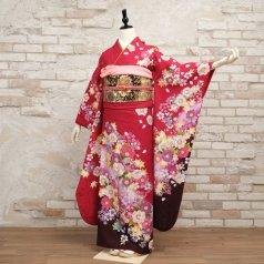 振袖 フルセット 花柄 Mサイズ 赤・ワイン系 (中古 リユース 美品) 16353
