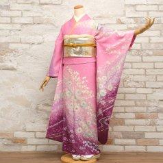 振袖 フルセット 花柄 Lサイズ ピンク・オレンジ系 (中古 リユース 美品) 46159