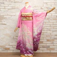 振袖 フルセット 花柄 Mサイズ ピンク・オレンジ系 (中古 リユース 美品) 46159