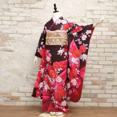 振袖 フルセット 花柄 Lサイズ 茶系 (中古 リユース 美品) 76557