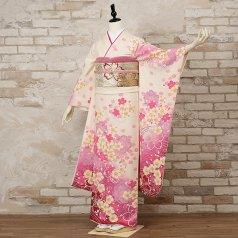 振袖 フルセット 花柄 Mサイズ 白・グレー系 (中古 リユース 美品) 86205