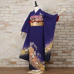 振袖 フルセット 古典柄 Lサイズ 青・紺系 (中古 リユース 美品) 20058