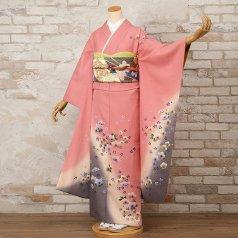 振袖 フルセット 花柄 Mサイズ ピンク・オレンジ系 (中古 リユース 美品) 46008