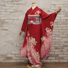 振袖 フルセット 花柄 Mサイズ 赤・ワイン系 (中古 リユース 美品) 16164