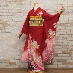 振袖 フルセット 花柄 Lサイズ 赤・ワイン系 (中古 リユース 美品) 16164
