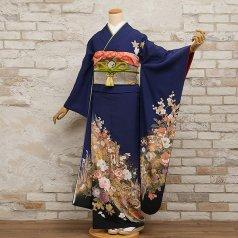 振袖 フルセット 古典柄 Lサイズ 青・紺系 (中古 リユース 美品) 20102