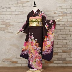 振袖 フルセット 花柄 Mサイズ 茶系 (中古 リユース 美品) 76360
