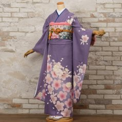 振袖 フルセット 花柄 Mサイズ 紫系 (中古 リユース 美品) 56079