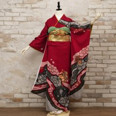 振袖 フルセット 絞り柄 Lサイズ 赤・ワイン系 (中古 リユース 美品) 13027