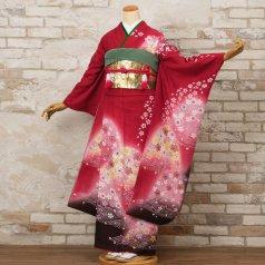 振袖 フルセット 花柄 Mサイズ 赤・ワイン系 (中古 リユース 美品) 16185