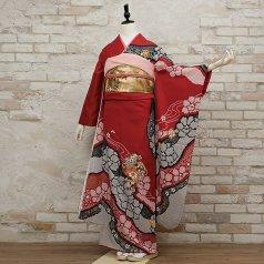 振袖 フルセット 絞り柄 Lサイズ 赤・ワイン系 (中古 リユース 美品) 13028