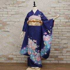 振袖 フルセット 花柄 Lサイズ 青・紺系 (中古 リユース 美品) 26077