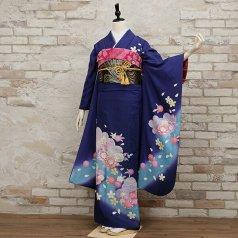 振袖 フルセット 花柄 Mサイズ 青・紺系 (中古 リユース 美品) 26077