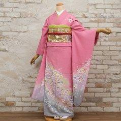 振袖 フルセット 花柄 Mサイズ ピンク・オレンジ系 (中古 リユース 美品) 46048
