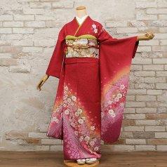 振袖 フルセット 花柄 Mサイズ 赤・ワイン系 (中古 リユース 美品) 16059