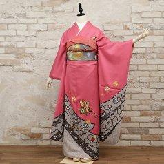 振袖 フルセット 絞り柄 Lサイズ ピンク・オレンジ系 (中古 リユース 美品) 43023