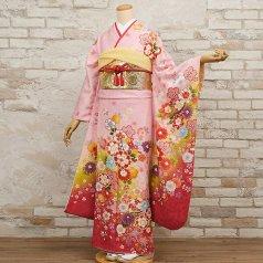 振袖 フルセット 花柄 Mサイズ ピンク・オレンジ系 (中古 リユース 美品) 46563