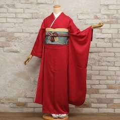 振袖 フルセット モダン柄 Lサイズ 赤・ワイン系 (中古 リユース 美品) 15039