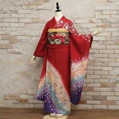 振袖 フルセット 花柄 Lサイズ 赤・ワイン系 (中古 リユース 美品) 16108