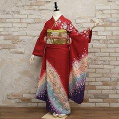 振袖 フルセット 花柄 Mサイズ 赤・ワイン系 (中古 リユース 美品) 16108