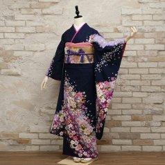振袖 フルセット 花柄 Mサイズ 青・紺系 (中古 リユース 美品) 26558