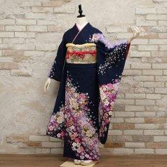 振袖 フルセット 花柄 Lサイズ 青・紺系 (中古 リユース 美品) 26558
