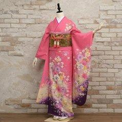振袖 フルセット 花柄 Mサイズ ピンク・オレンジ系 (中古 リユース 美品) 46221